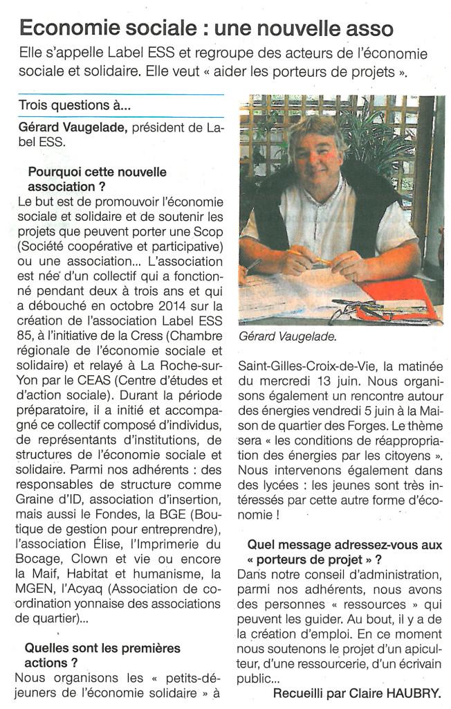 Interview de Gérard VAUGELADE, président de Label ESS85